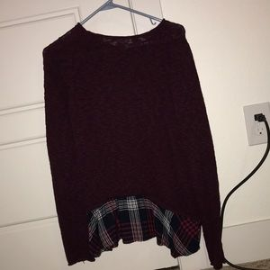 Red flowy knitted sweater